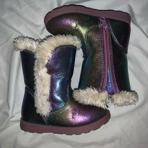Cat & Jack Iridescent toddler girl winter boots